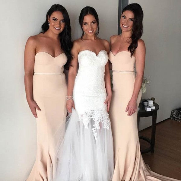 Elegant Sweetheart Sleeveless Long Cheap Apricot Bridesmaid Dresses Online, QB0143