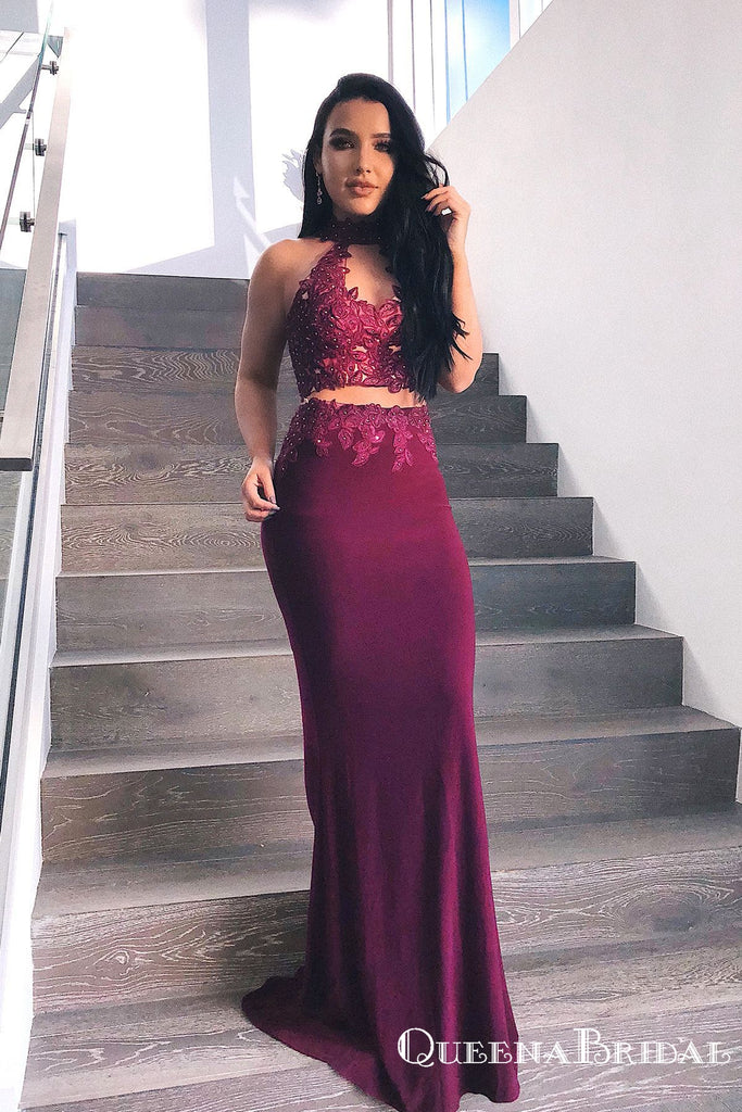 Sheath Round Neck Keyhole Burgundy Stretch Satin Prom Dresses with Appliques, QB0683