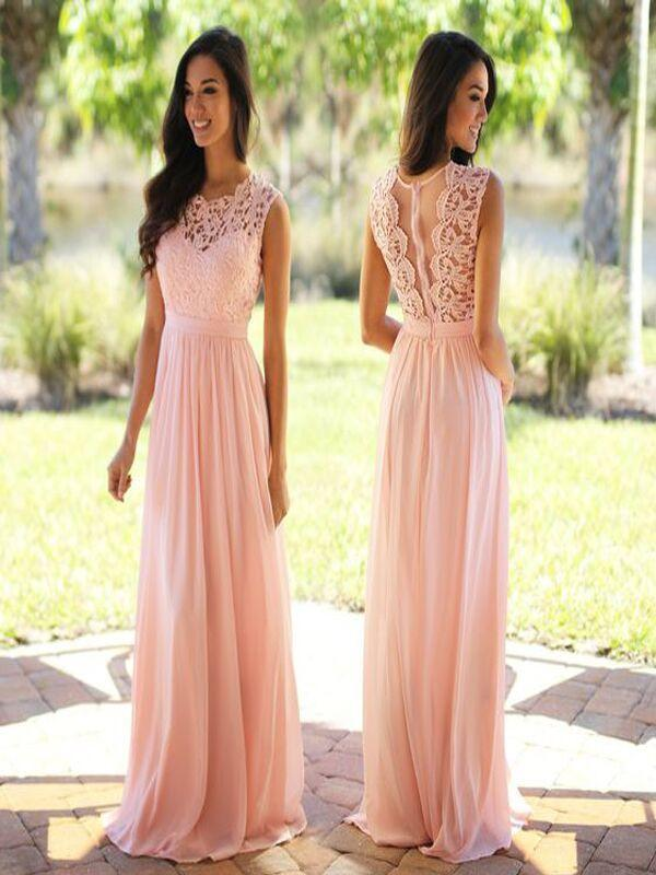 Elegant Lace Floor-Length Applique Blush Pink Long Formal Cheap Chiffon Bridesmaid Dresses, WG35
