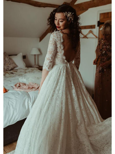 558807ba26616 Backless Modest Vintage Lace Ball Gown Wedding Dresses with Sleeves, QB324