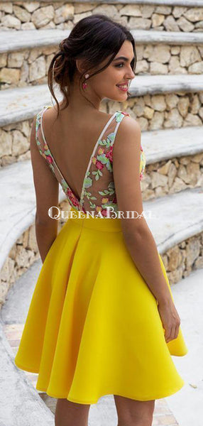Yellow V-neck Satin A-line Short Cheap Party Homecoming Dresses, HDS0032