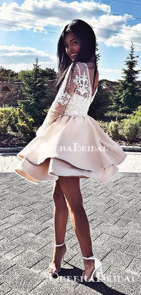 Long Sleeve Champagne A-line Short Cheap Party Homecoming Dresses, HDS0029