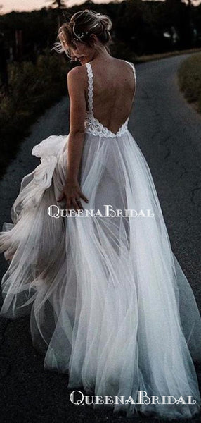 New Arrival V-neck White Tulle A-line Long Cheap Beach Wedding Dresses, WDS0040
