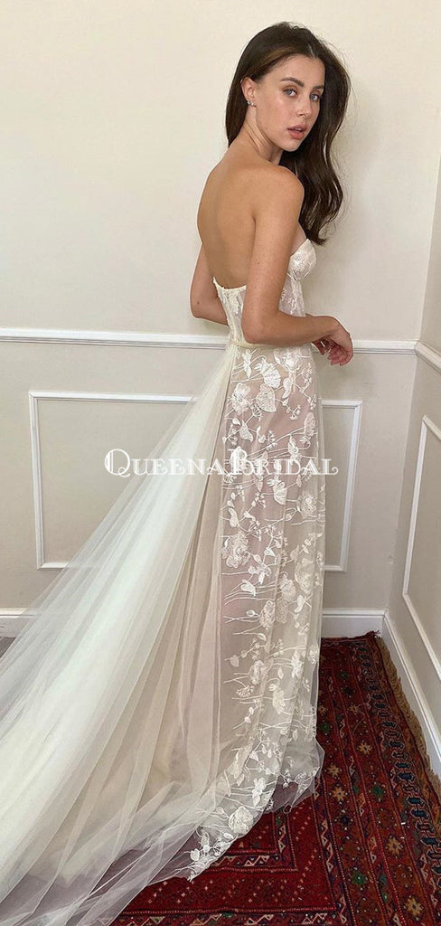 Sweetheart Lace Appliqued Tulle Long A-line Cheap Wedding Dresses, WDS0053