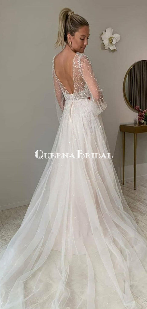 Long Sleeves V-neck Ivory Sequin Lace Backless Long Cheap Wedding Dresses, WDS0054