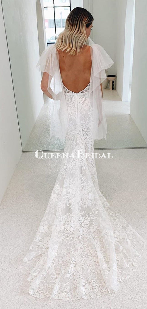 Sexy V-neck Lace Backless Mermaid Long Cheap Wedding Dresses, WDS0058