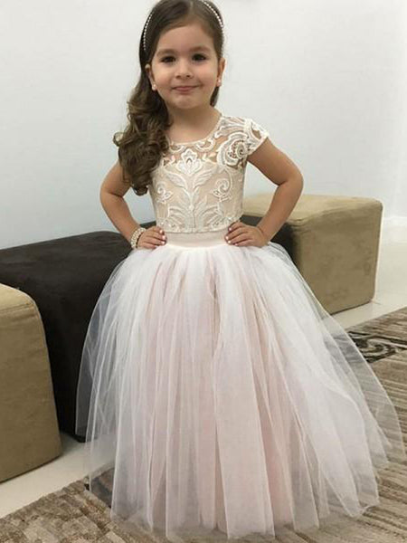 2bf556124a79 Ball Gown Round Neck Pink Tulle Flower Girl Dresses with Lace&Bow Knot,  QB0229