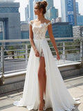 Off Shoulder See Through Cheap Wedding Dresses Online, Side Slit A-line Bridal Dresses, QB0383