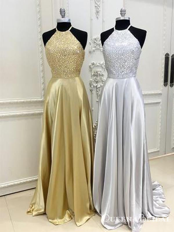 Sparkly Crystal Beaded Halter Long Satin Open Back Prom Dresses, QB0782
