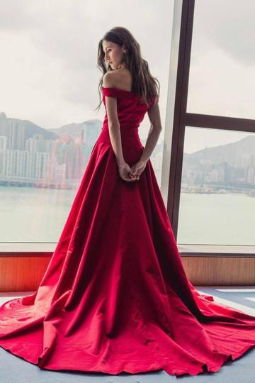 Simple Red A-line Off the Shoulder Long Cheap Prom Dresses, QB0670