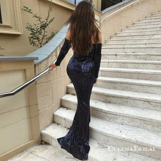 Navy Blue Off the Shoulder Long Sleeves Zipper  Long Prom Dresses, QB0669