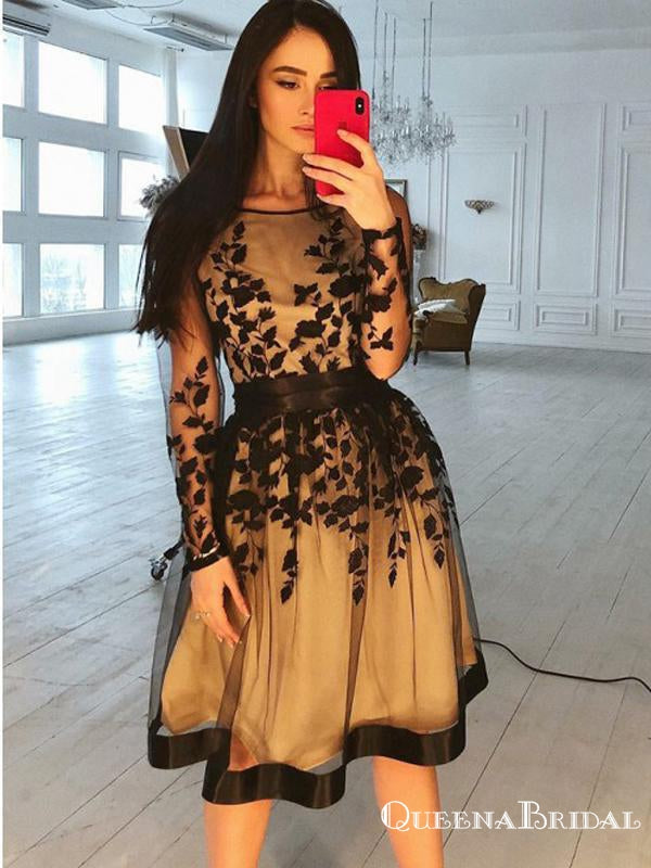 Charming A-line Bateau Long Sleeves Black Appliqued Short Cheap Homecoming Dresses, QB0907