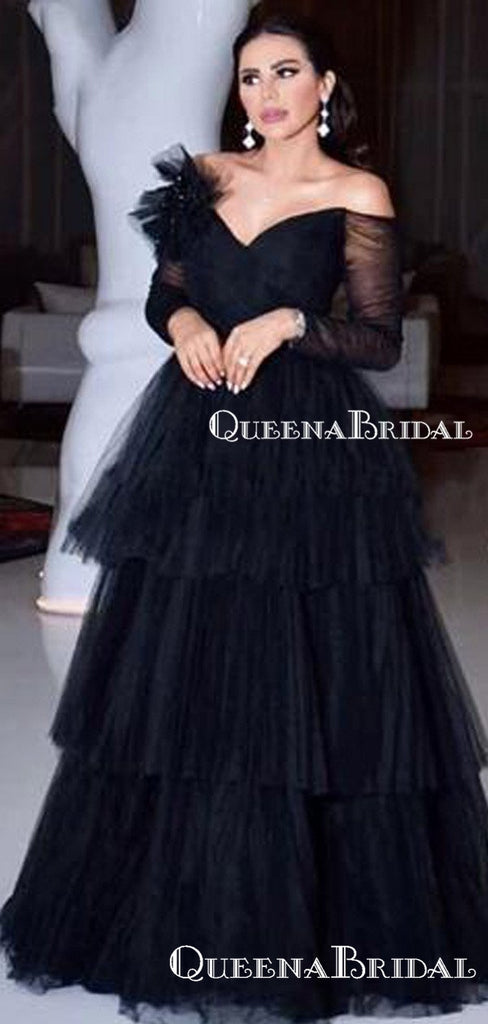 Gorgeous Charming Spaghetti Strap Off-The-Shoulder Black Tulle A-line Long Cheap Prom Dresses, PDS0027