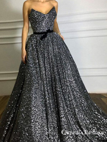 2019 Sparkly A-Line Sweetheart Long Black Sequined Prom Dresses, QB0519