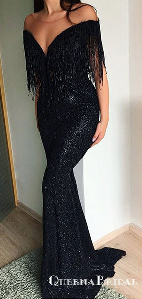 Mermaid Off-the-Shoulder Black Sequined Prom Dresses with Tassel, QB0532