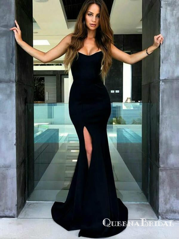 Black Mermaid Strapless Long Cheap Satin Prom Dresses with Side Split, QB0716