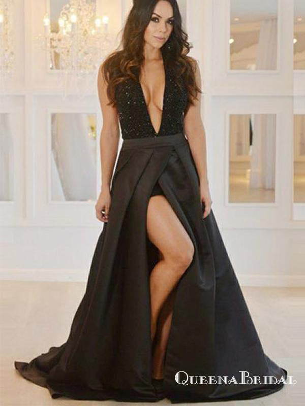 Sexy A-Line Deep V Neck Backless Black Satin Long with Beaded Slit Prom Dresses, QB0563