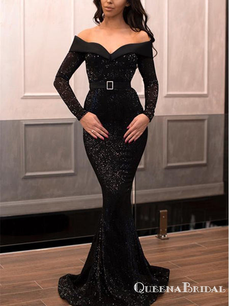 Black Sequins Long Sleeves Mermaid Off The Shoulder Long Prom Dresses, QB0791
