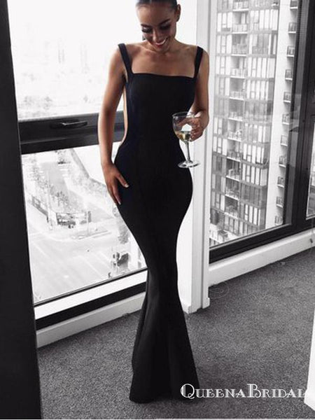 Sexy Mermaid Square Neck Backless Black Elastic Satin Long Prom Dresses, QB0567