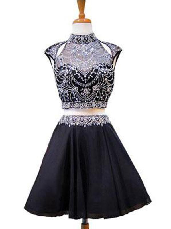 High Neck Beaded Short Two Piece Black Homecoming Dresses 2018, CM479