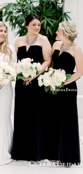New Arrival Strapless Black Long Cheap Charming Bridesmaid Dresses Online, BDS0061
