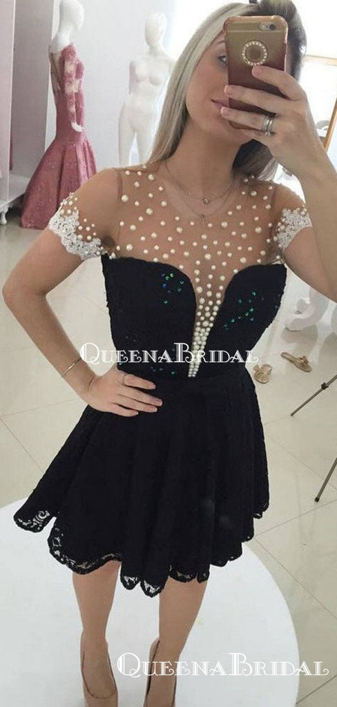 Tight Round Neck Short Sleeves Black Mermaid Short Cheap Party Homecoming Dresses, HDS0018