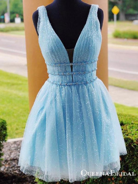 Cute A Line Deep V Neck Blue Short Homecoming Dresses With Beading, QB0894