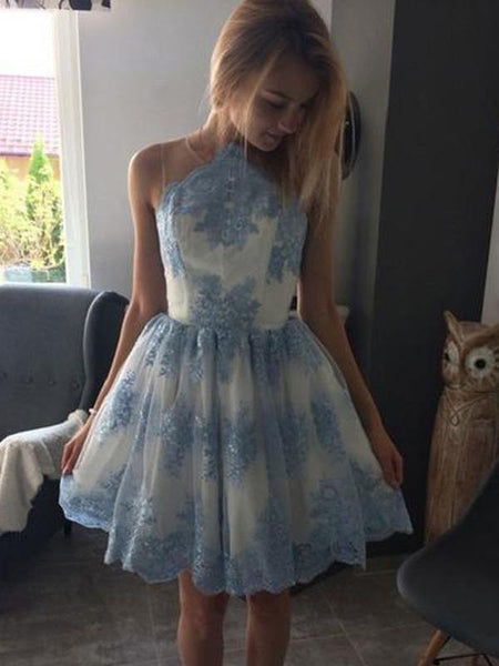Blue Lace Scoop Neck See Through Cheap Homecoming Dresses 2018, CM414
