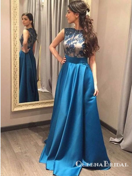 A-Line Scoop Neck Sleeveless Blue Floor Length Prom Dresses with Lace, QB0734