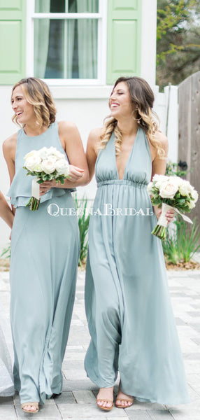 Mismatched Blue Chiffon A-line Long Cheap Bridesmaid Dresses, BDS0097