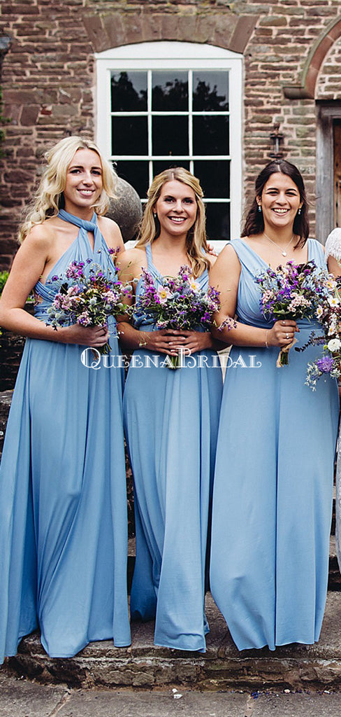 Mismatched Blue Jersey A-line Long Cheap Bridesmaid Dresses, BDS0129