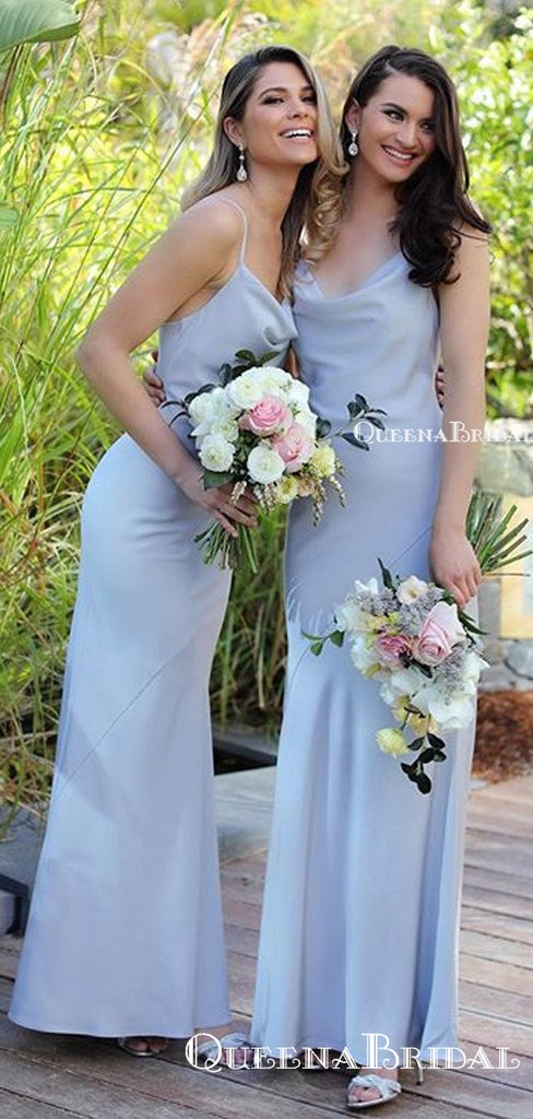Simple Charming Spaghetti Strap Blue Elastic Slik Mermaid Long Cheap Bridesmaid Dresses, BDS0045