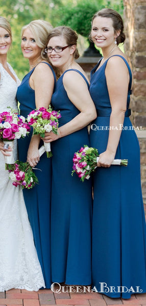 Charming V-neck Blue Mermaid Long Cheap Floor-Length Bridesmaid Dresses, BDS0058
