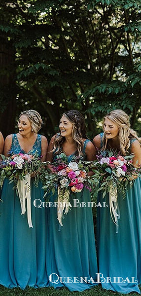 New Arrival V-neck Blue Lace Appliqued Beaded A-line Long Cheap Bridesmaid Dresses Online, BDS0080