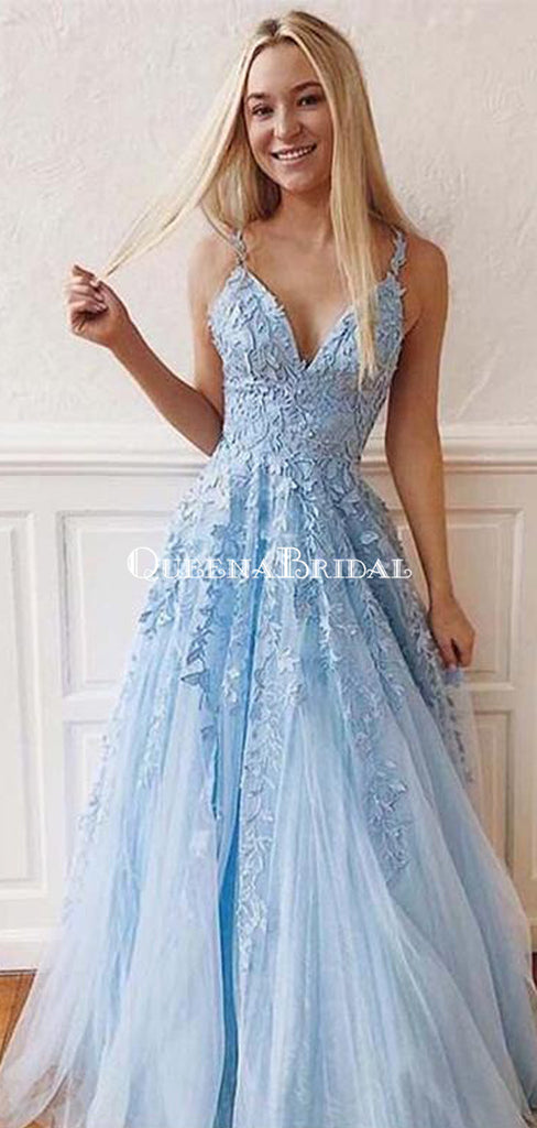 Cheap Blue Lace A-line Long Evening Prom Dresses, Evening Party Prom Dresses, PDS0083