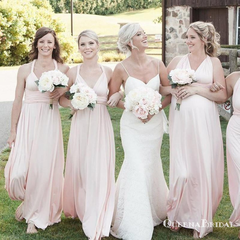Mismatched Pink Chiffon Cheap Long A Line Bridesmaid Dresses, QB0647
