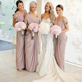 Sheath V-Neck Long Pleated Blush Pink Satin Cheap Bridesmaid Dresses Online, QB0009