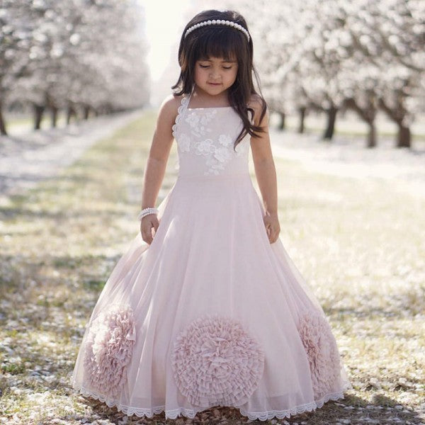 Pretty Ball Gown Halter Blush Pink Flower Girl Dresses with Bow Knot, QB0097