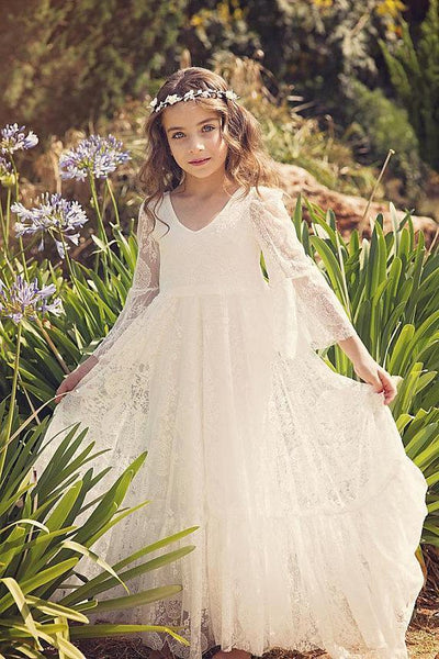3/4 Sleeve Ivory Lace Flower Girl Dresses Long Cheap Flower Girl Dresses, QB0268