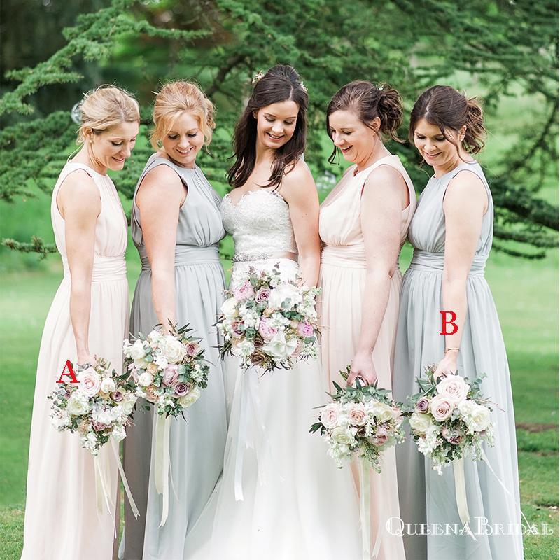 Charming Elegant Round Neck Sleeveless Long Cheap Wedding Party Bridesmaid Dresses, QB0950