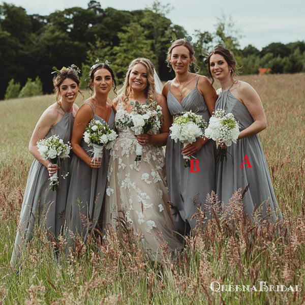 Newest Mismatched Charming Grey Chiffon A-line Long Cheap Wedding Party Bridesmaid Dresses, BDS0010