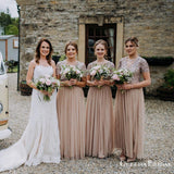 Charming Champagne Tulle V-neck Short Sleeves Floor-length Long Cheap Bridesmaid Dresses With Sequin, QB0944