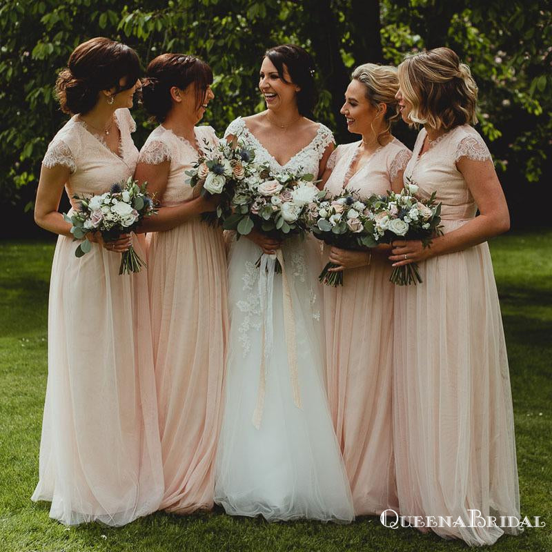 Charming V-neck Cap Sleeves Blush Pink Tulle A-line Long Cheap Lace Appliqued Bridesmaid Dresses, BDS0005