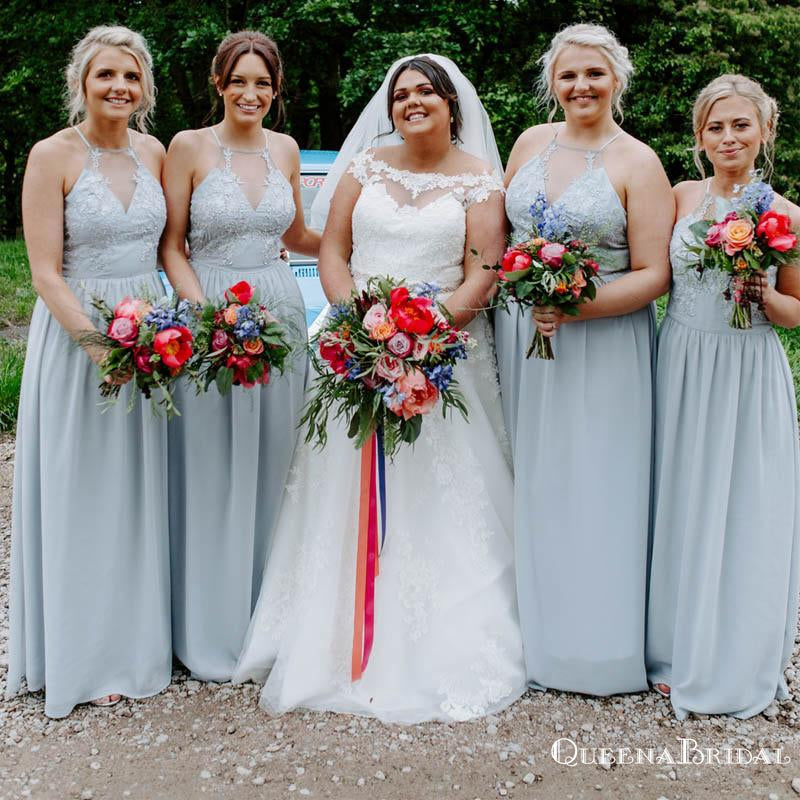 Sexy Charming Elegant Halter Straps Dusty Blue Appliqued Chiffon A-line Long Cheap Bridesmaid Dresses, BDS0007