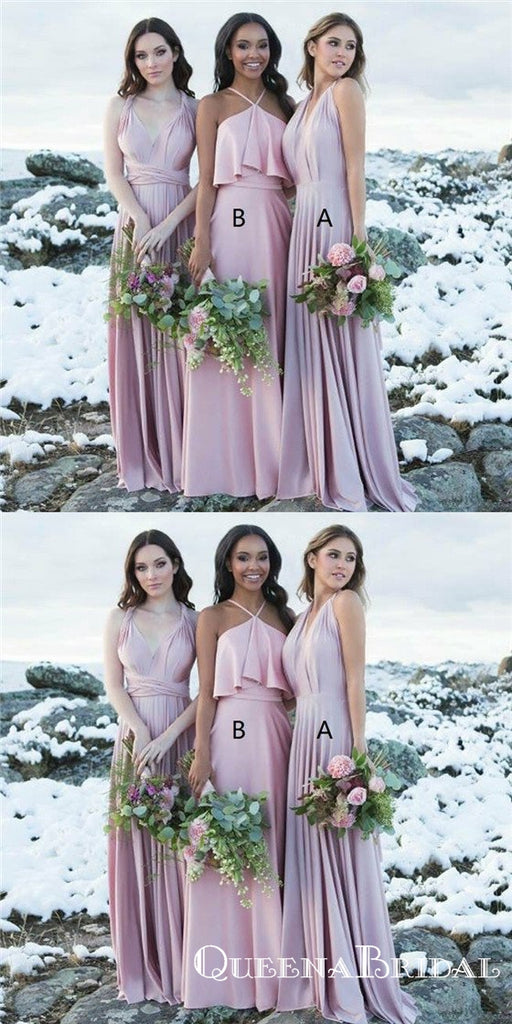 A-Line V-Neck Long Lavender Convertible Bridesmaid Dresses, QB0807