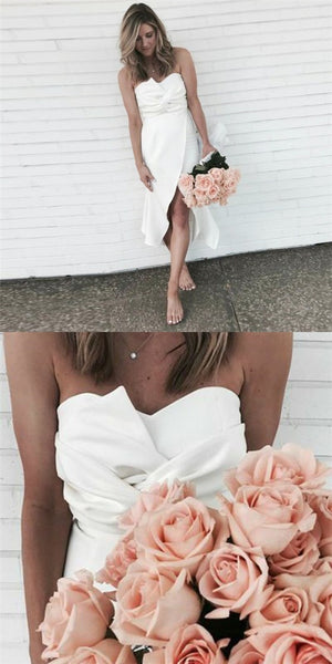 Pretty Sweetheart Asymmetrical Short Cheap Ivory Satin Bridesmaid Dresses Online, QB0157