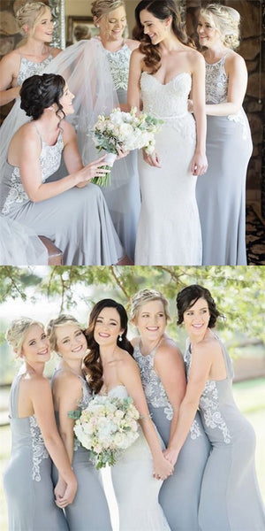 Mermaid Round Neck Long Cheap Grey Chiffon Bridesmaid Dresses with Lace, QB0127