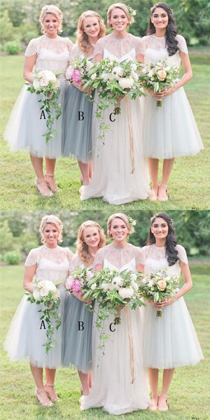 A-Line Round Neck Cap Sleeves Light Grey Tulle Short Cheap Bridesmaid Dresses with Lace, QB0034