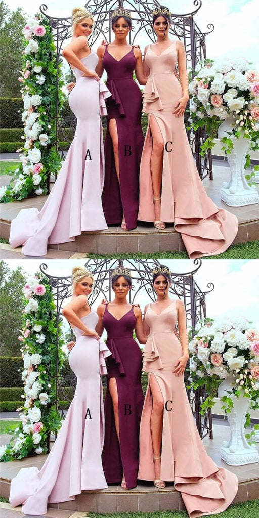 Sexy Mermaid V-Neck Side Split Pink Bridesmaid Dresses with Ruffles, QB0130