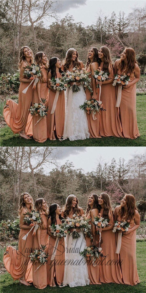 2020 Crew Long Dusty Orange Chiffon Bridesmaid Dresses with Split, QB0483